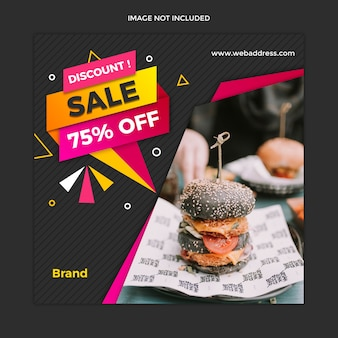 Современный баннер для продажи продуктов питания и квадратный пост instagram