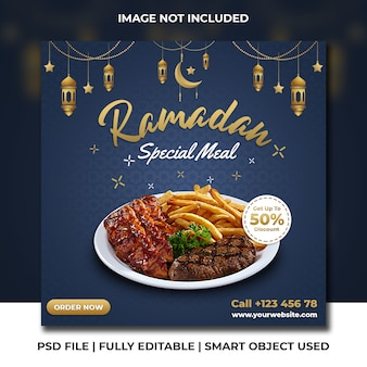 Барбекю ресторан быстрого питания рамадан темно-синий шаблон instagram