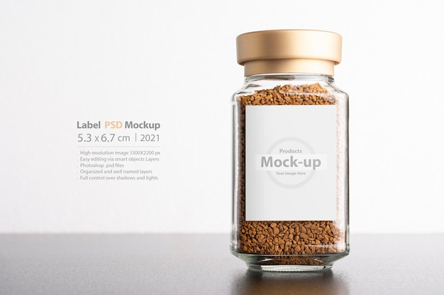 Instant coffee in a glass jar with label mockup