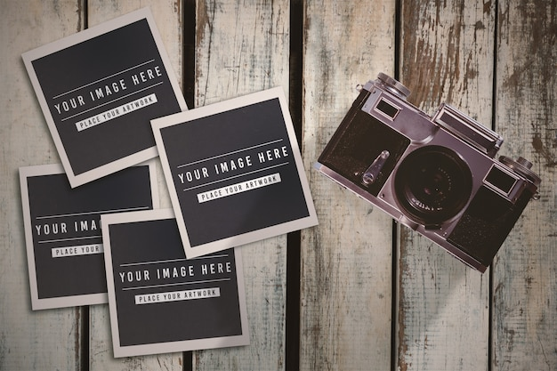 Instant photos mockup on table