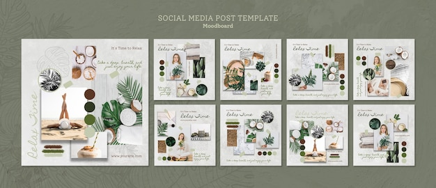 Instragram posts templates with relaxing time
