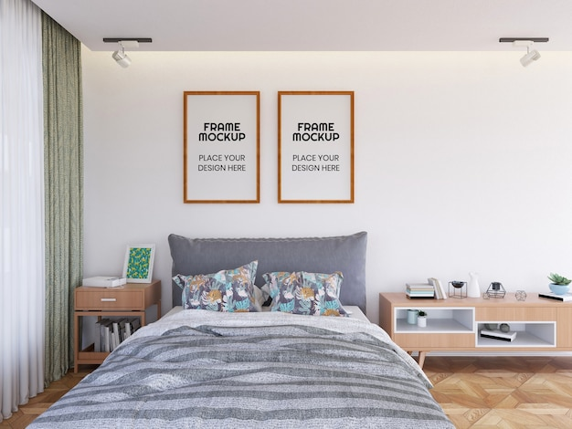 Фоторамка в интерьере спальни