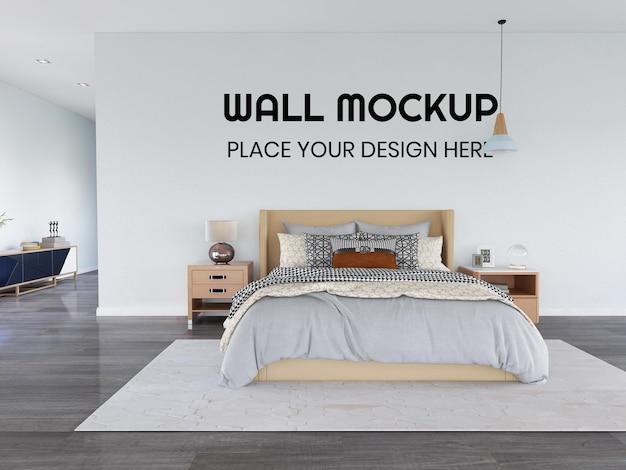 Interior bedroom realistic wall mockup