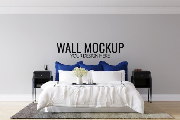 Interior bedroom wall background mock up