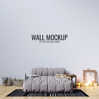 Interior bedroom wall background mockup