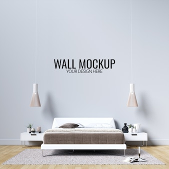 Interior bedroom wall background mockup