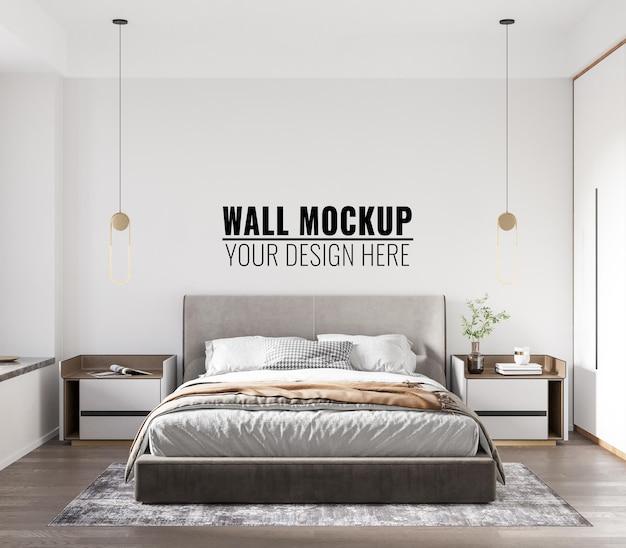 Interior bedroom wall mockup - 3d rendering