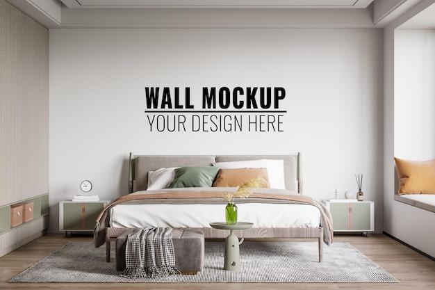 Interior bedroom wall mockup, 3d rendering