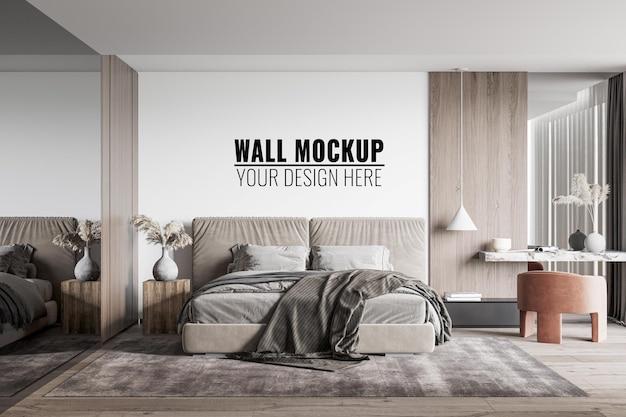 Макет стены спальни, 3d рендеринг