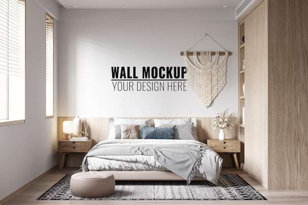 Интерьер спальни стены макет 3d рендеринга