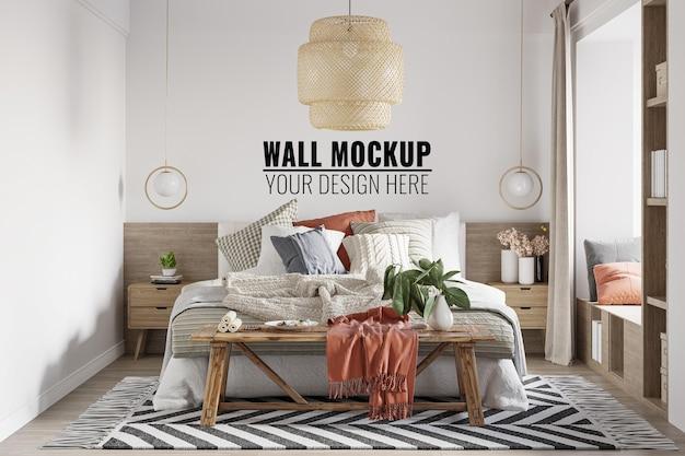 Interior bedroom wall mockup  3d rendering