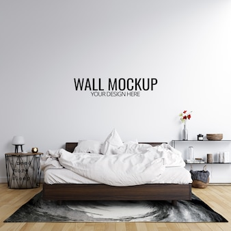 Interior bedroom wall mockup background