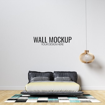 Interior bedroom wall mockup