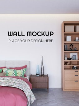 Interior bedroom wallpaper realistic mockup