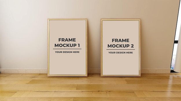 Interior blank photo frame mockup with wooden floor