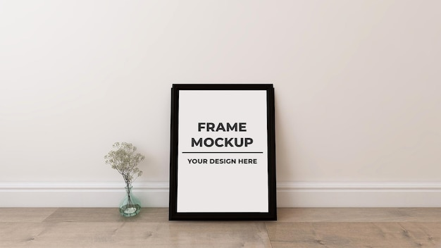 Interior blank photo frame poster mockup with plant pot