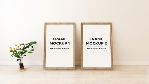 Interior blank photo with two frame mockup with plant pot