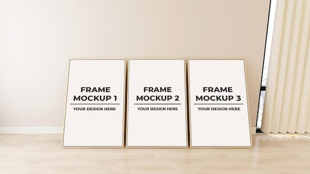 Interior blank three photo frame poster mockup with plant pot