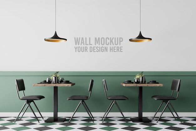 Interior cafe wall mockup