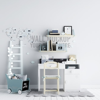 Interior children playroom wall background mockup with decorations