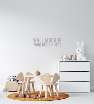 Interior children playroom wall mockup