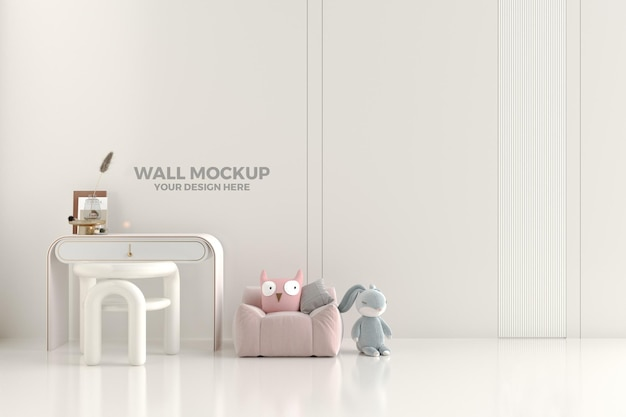 Интерьер детской комнаты, дизайн макета стены