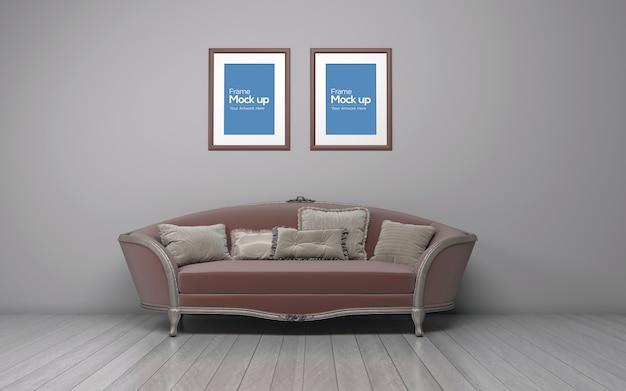 Интерьер классическая гостиная с диваном и рамой макет