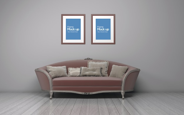 Interior classic living room with sofa and frame mockup