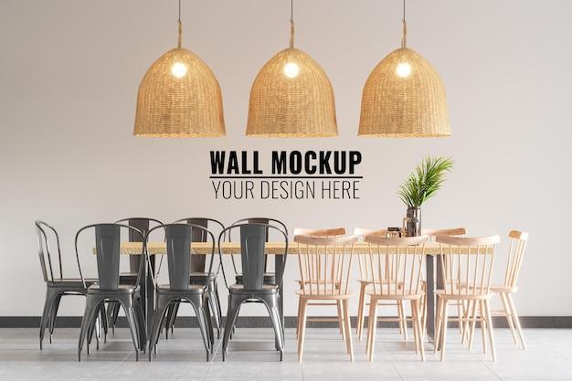 インテリアコーヒーショップの壁のモックアップ