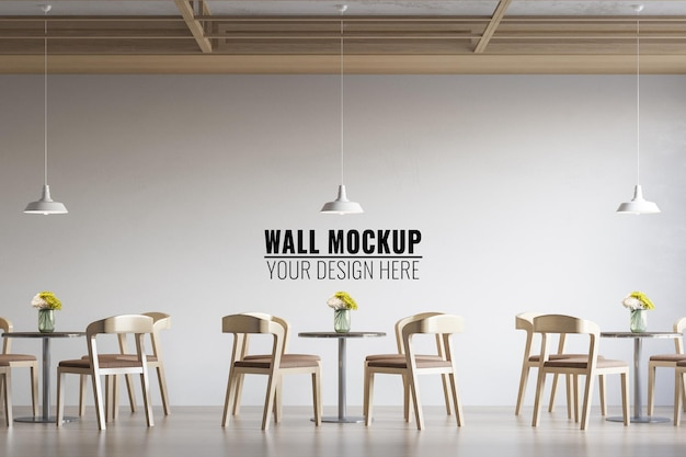 Мокап стены кофейни интерьера