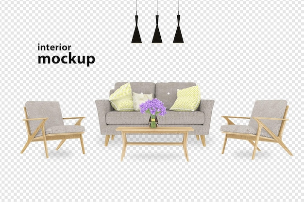 Interior decoration set in 3d rendering isolated