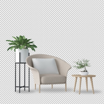 Interior decoration set in in 3d rendering