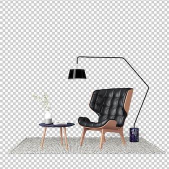 Interior decoration set in 3d rendering