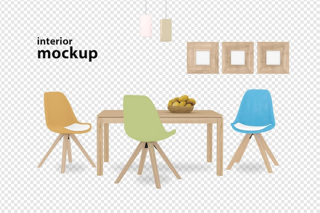 Interior decoration set in 3d rendering Premium Psd