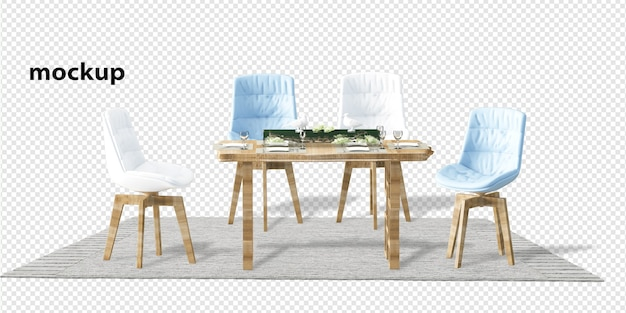 Interior decoration set in 3d rendering