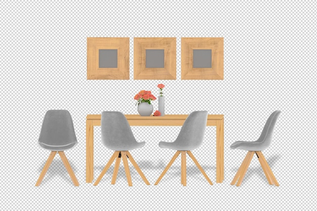 Interior decoration set arm chair table in 3d rendering