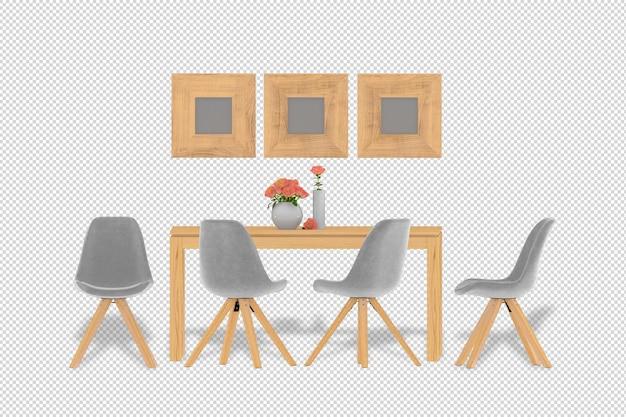 3d 렌더링에서 실내 장식 세트 팔 의자 테이블