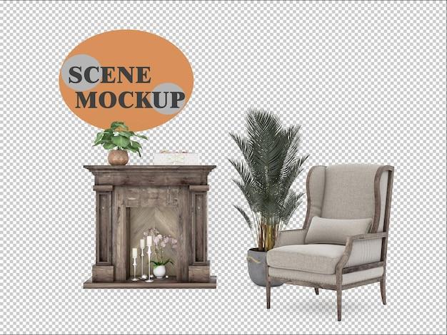 벽난로와 안락 의자가있는 3d 렌더링에서 설정된 실내 장식