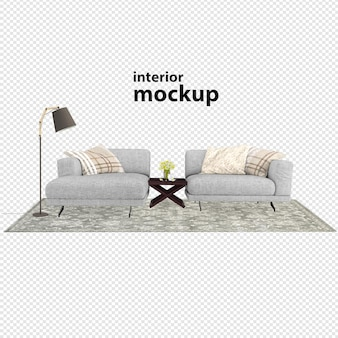 Interior decoration set rendering clipping path isolated