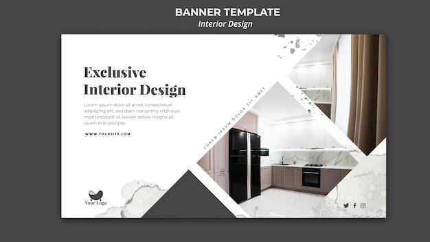 Interior design ad banner template