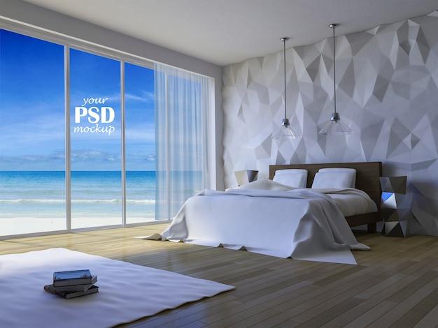 Дизайн интерьера спальни с макетом макета и макета