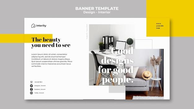 Interior design furniture banner template