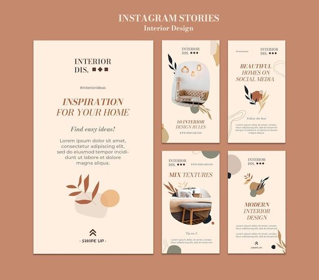 Шаблон истории дизайна интерьера insta