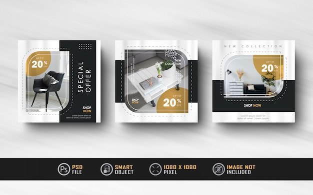 Interior design instagram social post templates