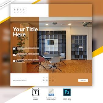 Interior design instagram square social post templates