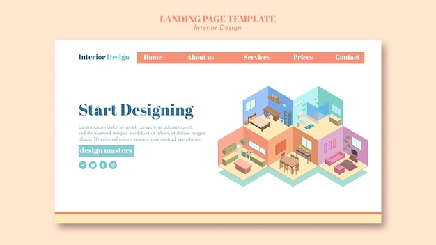 Interior design landing page template