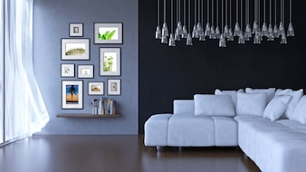 Interior design living room with frame mockup and view mockup