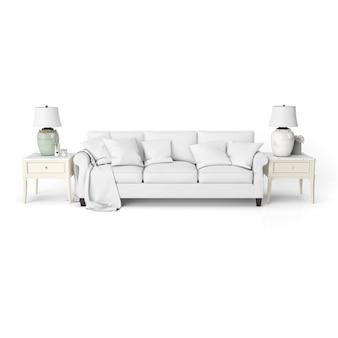 白い家具付きのリビングルームのインテリアデザインのモックアップ