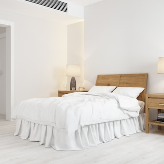 Mockup di interior design con letto e poggiatesta in legno