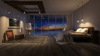 Interior design mockup with bedroom at night